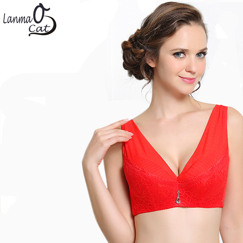 Full Breast Big Push Up Women Thin Bra Underwear Full Cup Size 80 85 90 95 100 105 C D E Cup Free Shipping