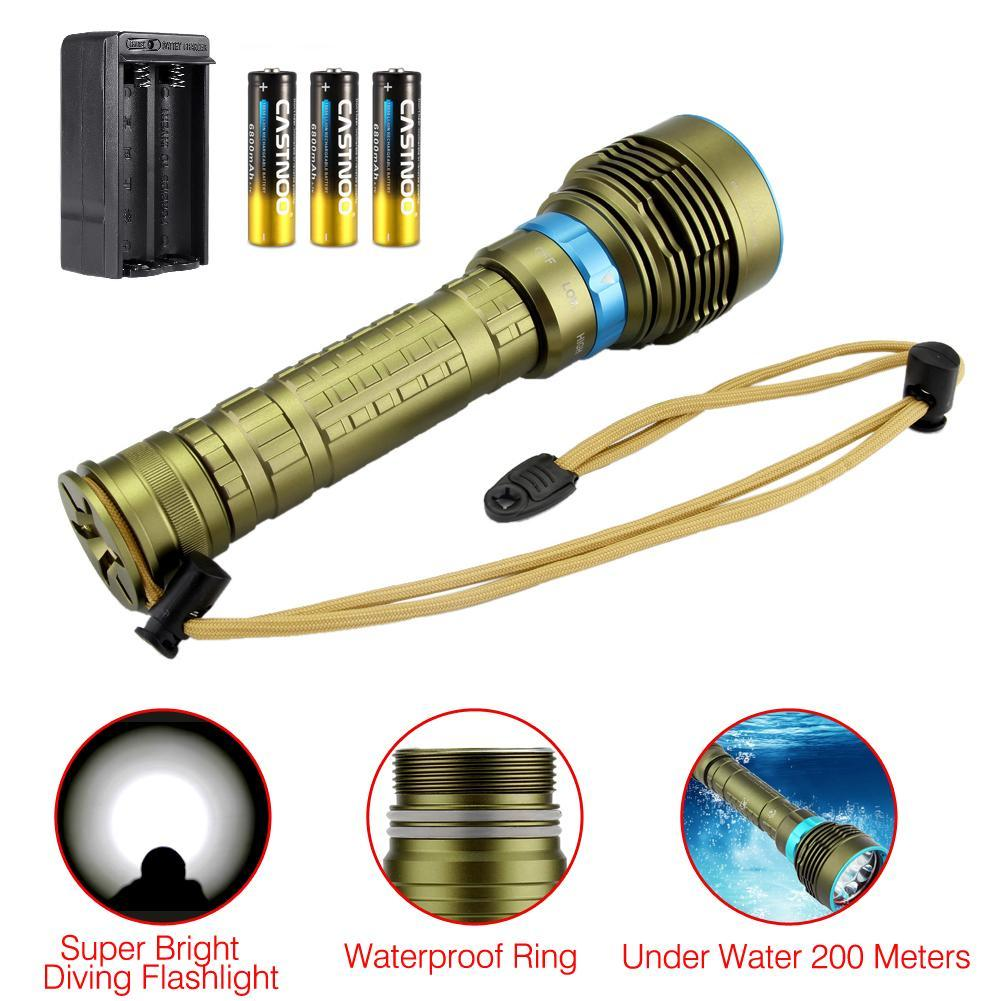 Diving Flashlight lamp 200 meters Underwater 7*L2 T6 LED Lanttern scuba Diver Torch Light for 3x18650 or 26650 Battery 4500lm 4cree xml t6 led lanttern waterproof underwater scuba dive diving flashlight torch light lamp for diving by 26650 battery