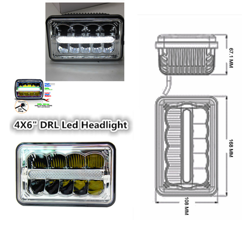led Replacement Driving Light With DRL 2pcs 4x6 headlight Rectangle Projector Sealed Beam Lamp For Jee p Chevy Camaro offroad