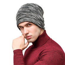 2017 Colorful Wool Cap Man Fashion Warm Outdoor Knitted Cap with Velvet Male Beanies Cover Cap Simple Calsssical 3 Colors