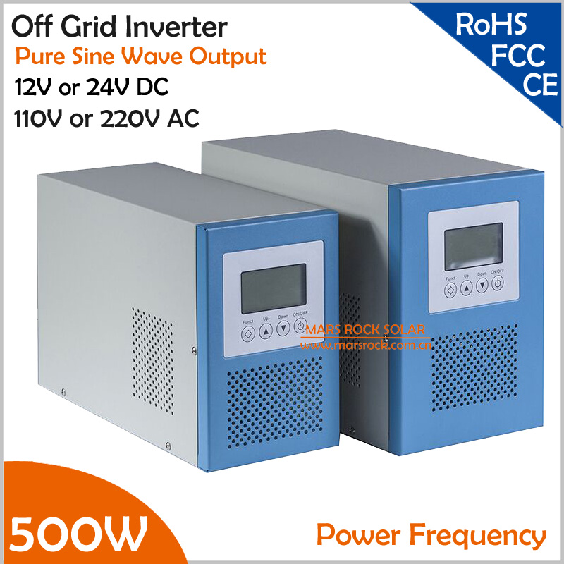 цена на Power Frequency 500W 12V or 24V DC to AC 110V or 220V Pure Sine Wave Off Grid Inverter with City Grid Charge Function