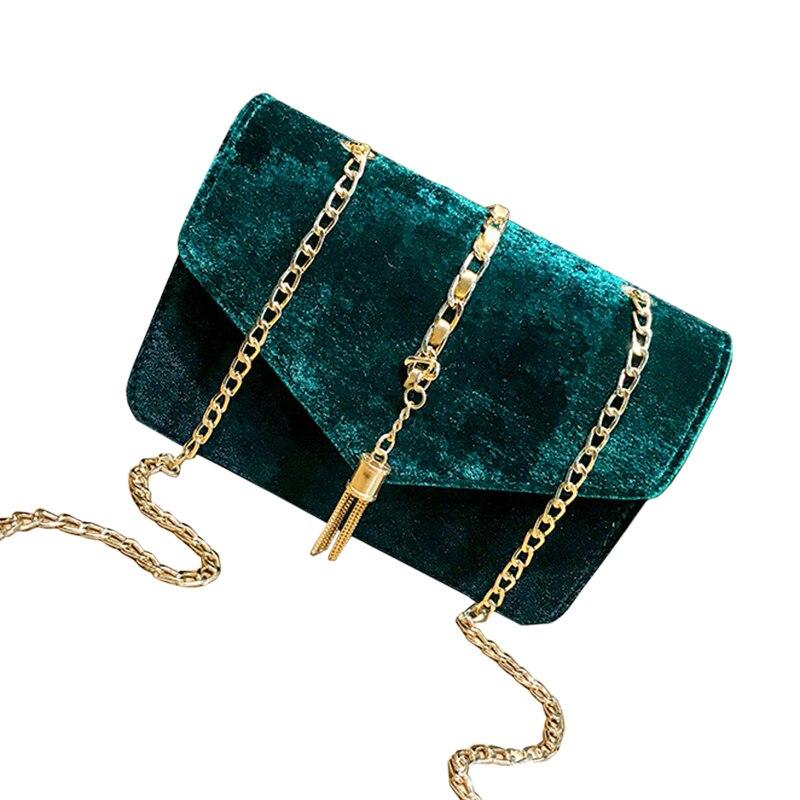 LJL Women Flap Clutch Evening Handbag Purse Tassel Envelope Chains Ladies bags 1