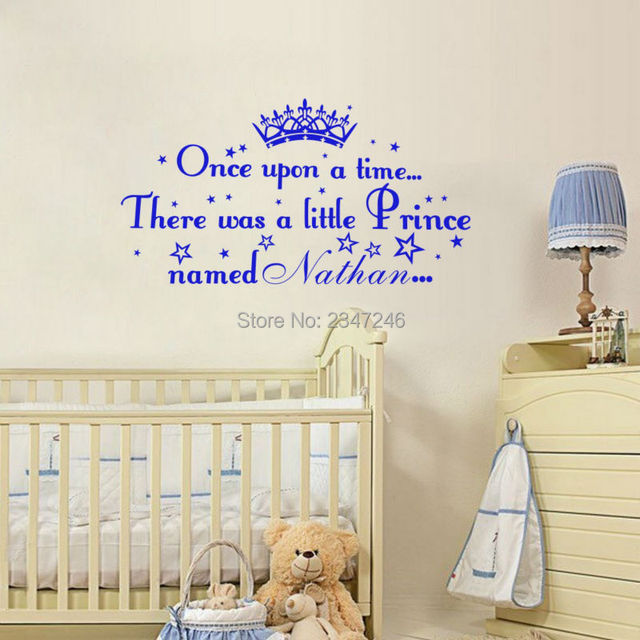 Lovely Boys Name Wall Decals Oonce Upon A Time Prince Personalised Name  Wall Stickers Vinyl Boys