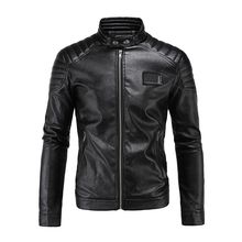 2018 Men Leather Jackets and Coats Slim Fit Stand Collar Vintage Fashion Black Motorcycle