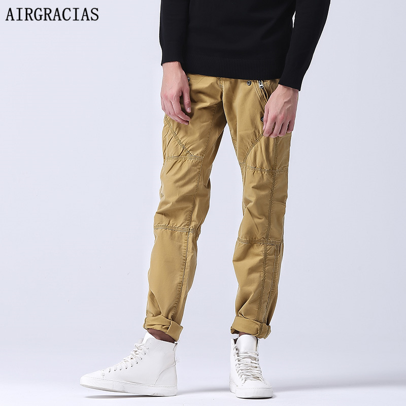 AIRGRACIAS Zipper Multi-Pocket Mens Military Pants Fit Work Cargo Pants Tactical Casual Long Trousers Male with Pockets