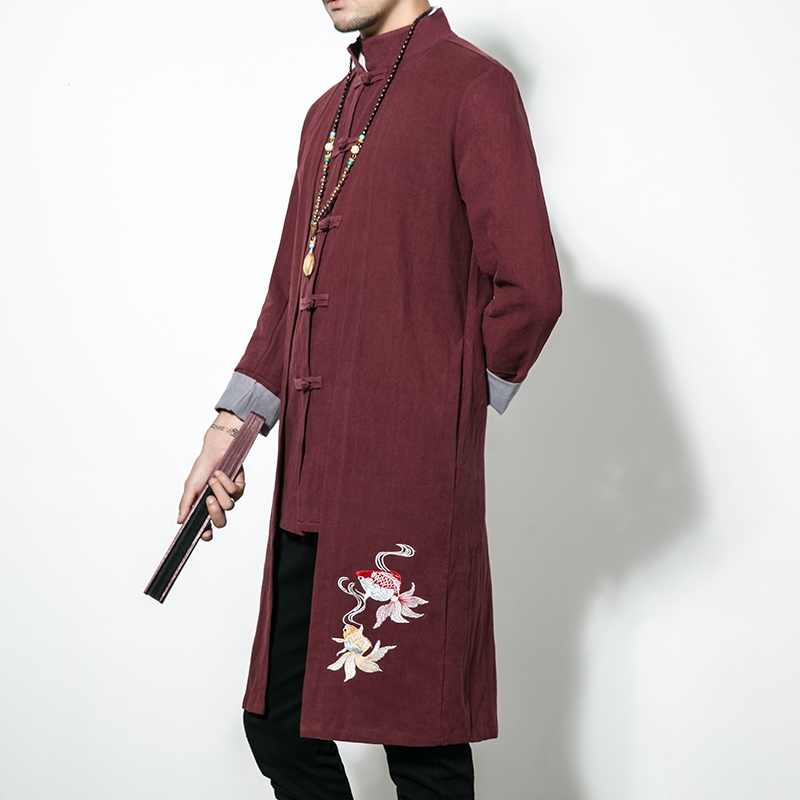 中国の伝統的な男性服メンズトレンチコートカンフー服繁体字中国語ドレス男性ローブ chinoise TA092