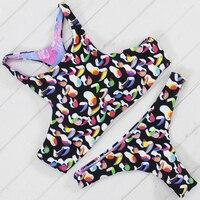 2017 New Sexy Low Waist Bikini Swimwear Two Sided Swimwear Floral Painting Bikini Double Sides Wear