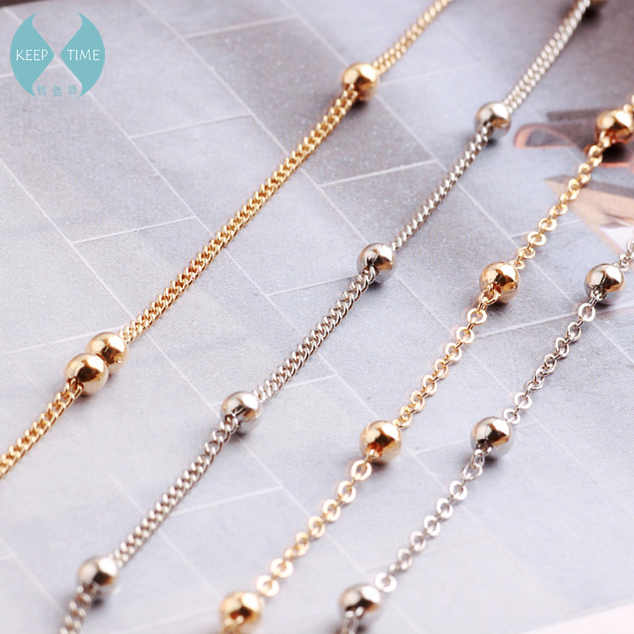 Diy Accessories Materials By South Korea Copper Beads Tassel Slender Necklace Earrings Earrings Clothing Chain Tassel With 1 M