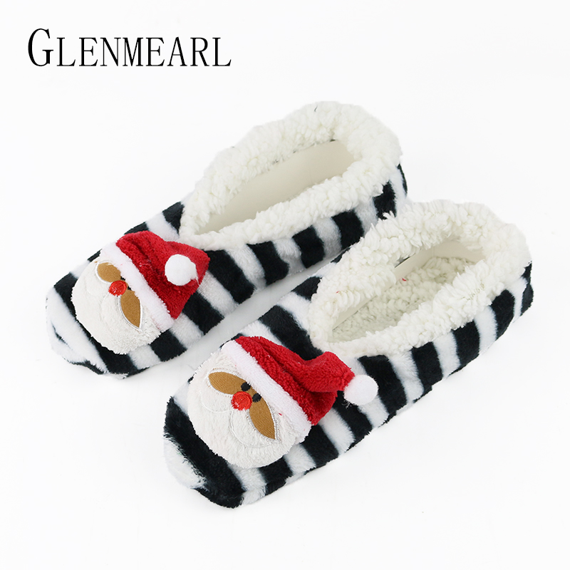 Santa Claus Women Slippers Animal Winter Warm Soft Indoor Slippers Home Shoes Flat Non-Slip unicorn Slippers Chirstmas Gift3-35 unicorn slippers cotton winter indoor warm solid flat furry animal fluffy fenty anime shoes fuzzy house licorne home slippers