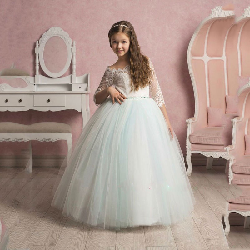Flower Girl Dresses New Hot Lace Three Quarter Sleeve Ball Gown Sexy Off Shoulder First Communion Dresses For Girls Custom Made 4pcs new for ball uff bes m18mg noc80b s04g
