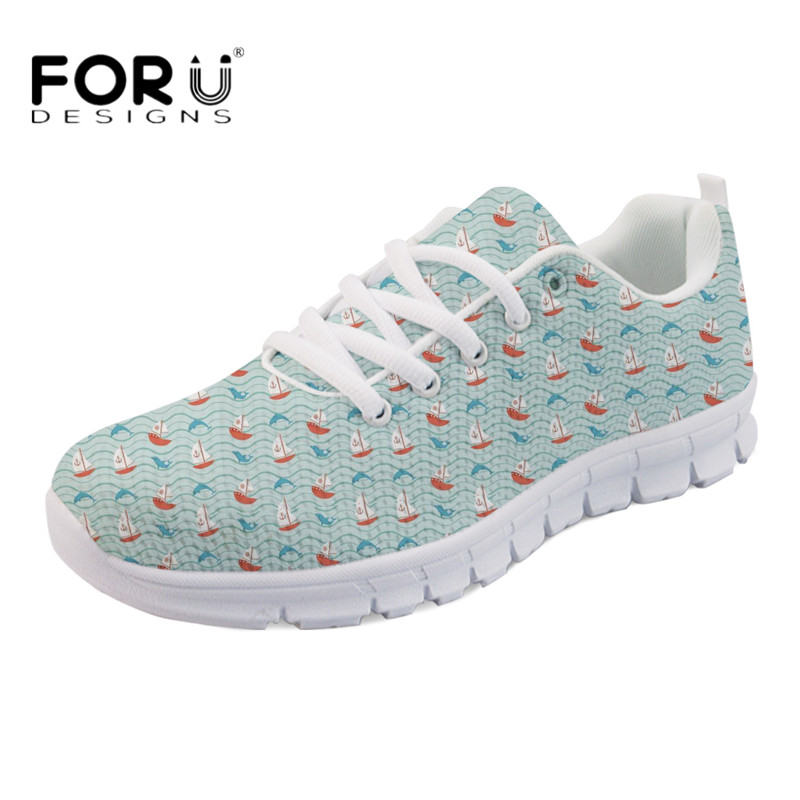 FORUDESIGNS Women Comfortable Flats Cute Animal Dolphin Print Casual Lace-up Sneakers Light Mesh Summer Walking Shoes for Ladies forudesigns cute animal dog cat printing air mesh flat shoes for women ladies summer casual light denim shoes female girls flats