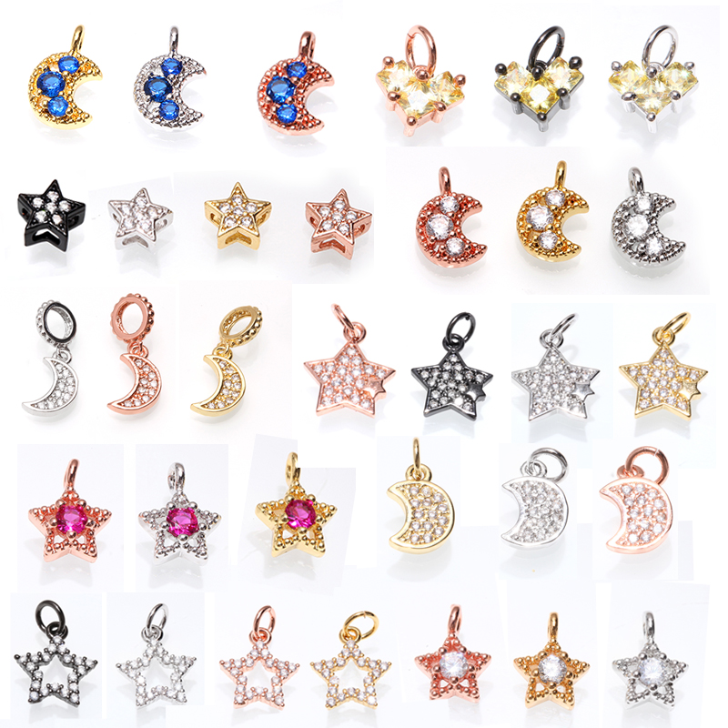 Stars moon Shape Charms Pendant Diy Jewelry Accessories for Necklace & Bracelet Making Enamel Fashion womens Charms accessories(China)