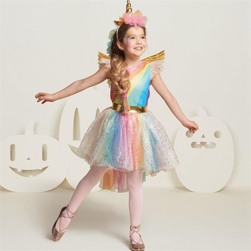 New Girls Sequins Colorful Party Dress Halloween Carnival Costumes Unicorn Fancy Prom Gowns Girls Cosplay Dresses for Girls 3 8Y star wars cosplay halloween costumes for kids classic the force awakens rey fancy dress girls movie charater carnival cosplay