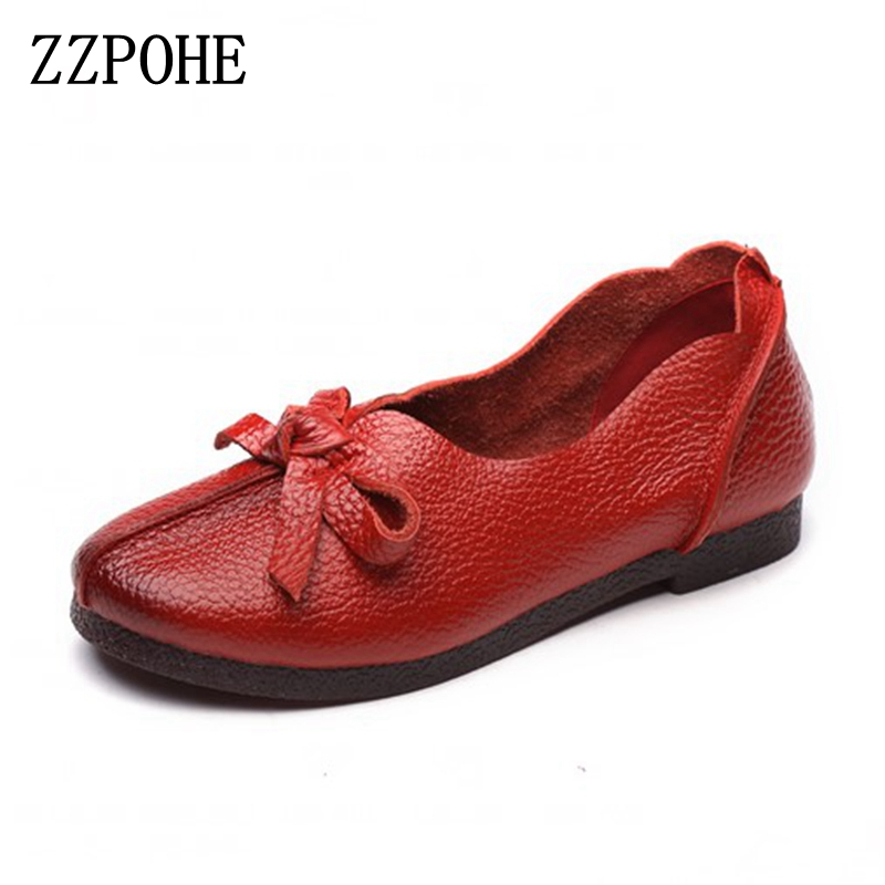 ZZPOHE 2017 Spring autumn new genuine leather women flats shoes Women's Fashion Slip On Soft Casual Comfort Plus Size Shoes new brand autumn women metal flat shoes casual lady slip on flats soft soled natual leather pointed toe shoes comfort female