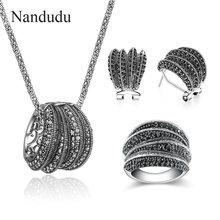 Nandudu высокое качество сверкающие два стиля черный камень марказита Винтажные Ювелирные наборы для женщин антикварные ретро массивные украшения