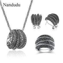 Nandudu High Quality Sparkling Two Styles Black Marcasite Stone Vintage Jewelry Sets for Women Antique Retro Statement Jewellery(China)