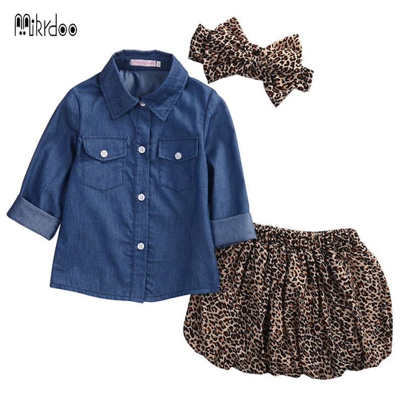 Mikrdoo 3PCS Summer Baby Girls Clothes Set Kids  Long Sleeve Denim Tops+Leopard Culotte Skirt Outfits Children Clothing Suit baby kids baseball season clothes baby girls love baseball clothing girls summer boutique baseball outfits with accessories