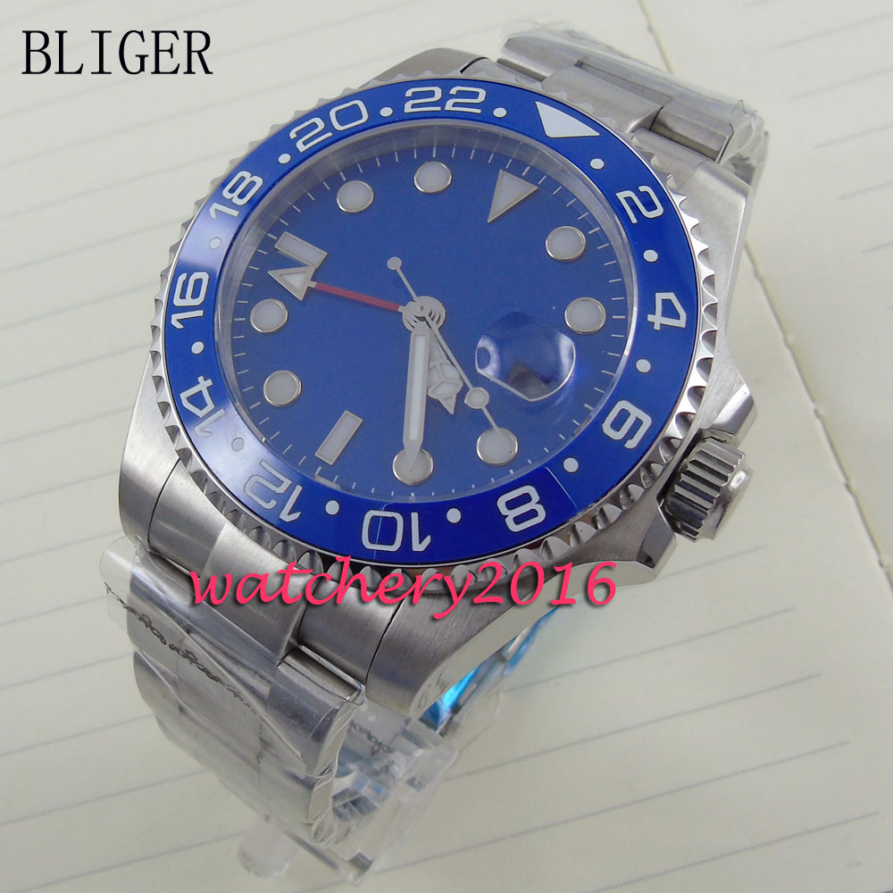 Fashion 40mm Bliger blue dial date adjust sapphire glass GMT Automaic self-wind movement Men's business Watch коньки onlitop 223f 37 40 blue 806164