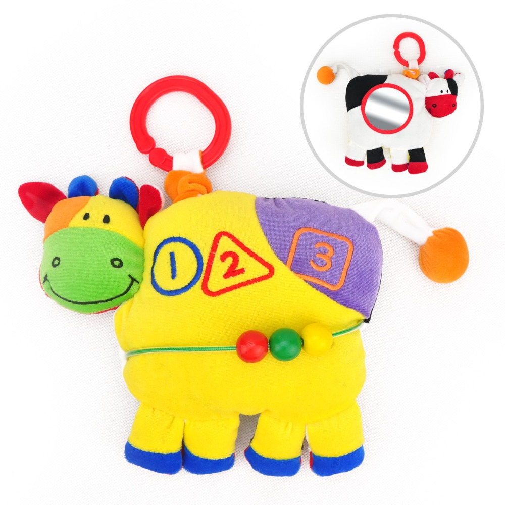 candice guo multifunctional two sides colorful cattle cow rattle bell baby plush toy stuffed doll bed car hang birthday gift 1pc ...