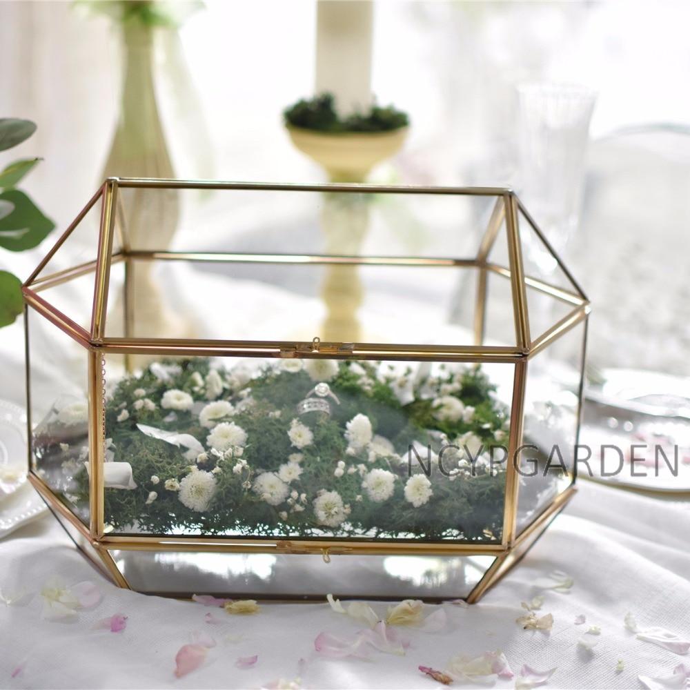 Large Geometric Glass Wedding Card Box Keepsake Recipe Reception Card Envelope Holder Display Gift Card Box with Swing Lid