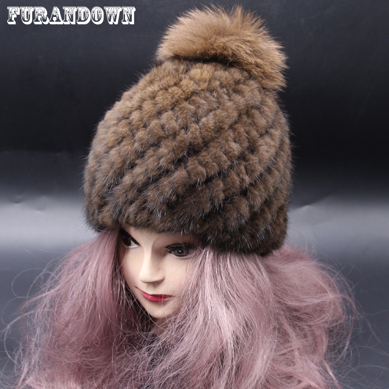 Solid Color Casual Women Russian Knitted Mink Fur Hat Fox Fur Pompom Winter Hats Ladies Skullies Beanies mink skullies beanies hats knitted hat women 5pcs lot 2299