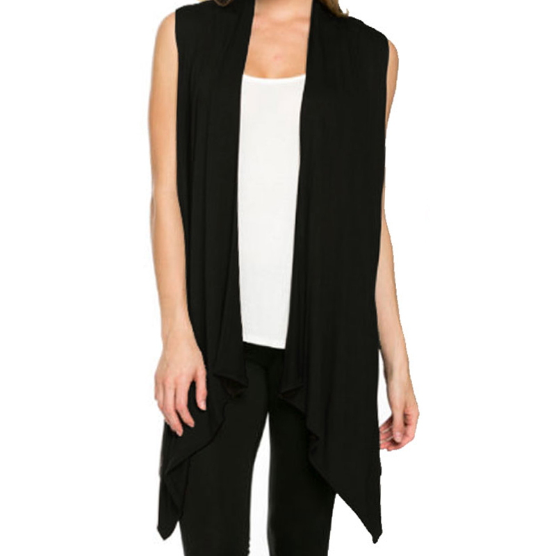 Black Long Sleeveless Vests Women's