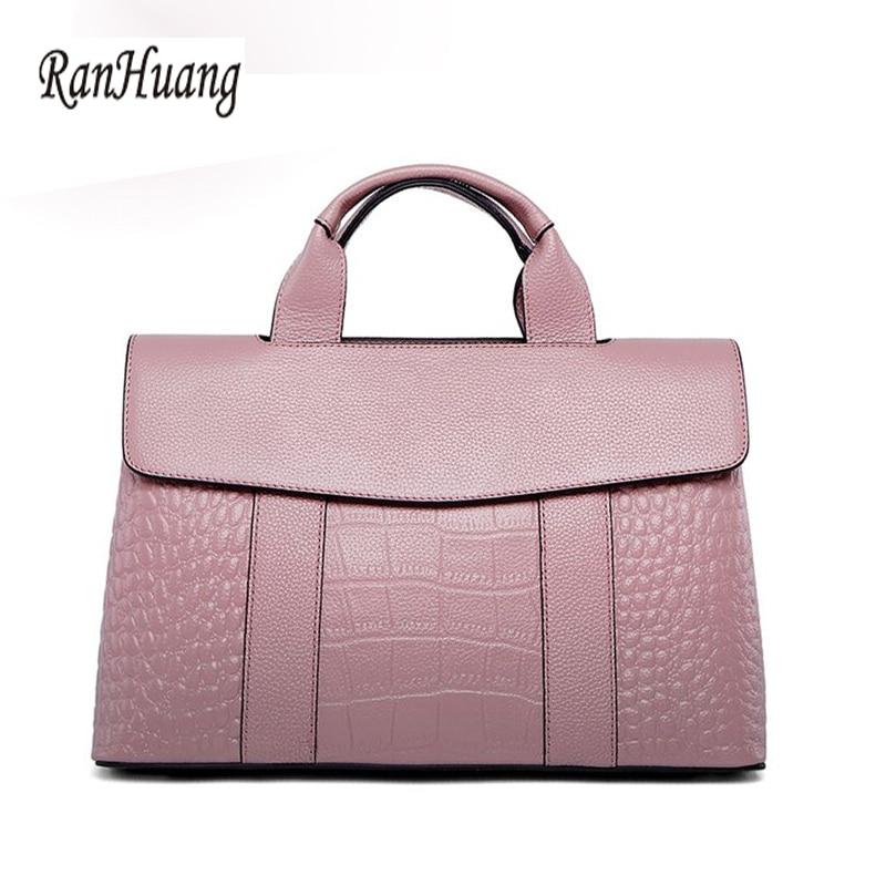 RanHuang New 2018 Women Genuine Leather Handbags Black Alligator Luxury Handbag Ladies Designer Shoulder Bags Famous Brands 1105 6pcs of stylish color glazed round rings for women