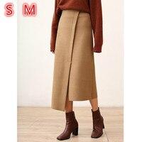 Korean Vintage Long Wool Skirts For Winter Solid irregular Skirt Camel Apricot High Waist Slim A Line Women Maxi Skirt