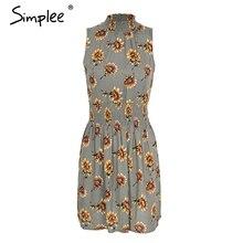 Simplee Sleeveless floral print summer dress women Elastic waist streetwear mini dress Beach boho dress female vestidos 2018