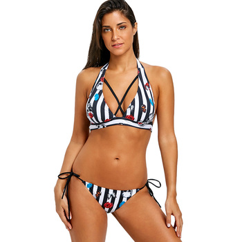Women Halter Bikini Skull Stripe Self Tie Bikini Set