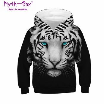 Zima dla dzieci sportowe bluzy z kapturem zwierząt tygrys 3D drukuj dzieci bluzy Junior topy dziecko sweter 4-13y chłopiec dziewczyna z kapturem swetry tanie i dobre opinie Dzianiny Pełna Poliester Myth-box Pasuje prawda na wymiar weź swój normalny rozmiar Szybkie suche V-neck Knitted Kids Sweatshirts