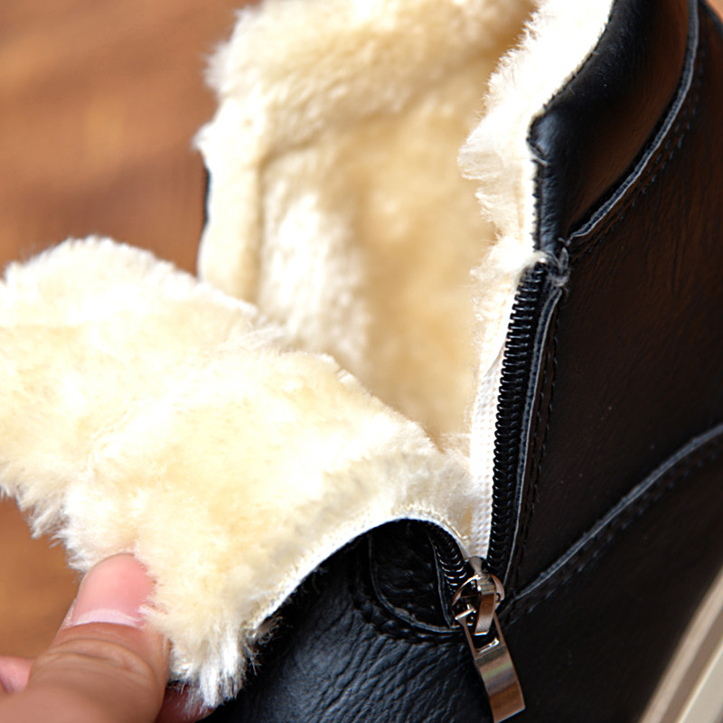 Men's Ankle Boots Warm Thick Plush Winter Shoes Men Casual Leather Boots Men Zip Waterproof Snow Boots Mens Winter Footwear new men winter boots plush genuine leather men cowboy waterproof ankle shoes men snow boots warm waterproof rubber men boots page 6