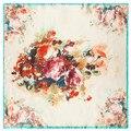 60 cm * 60 cm 2016 nuevo digital abstracto flor de la señora pequeña bufanda de seda cuadrada pintura flores