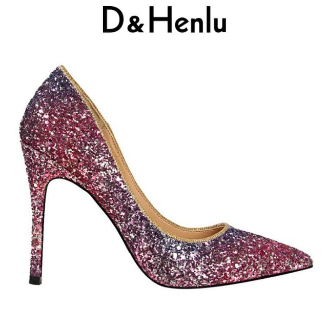 d26d961136cd  D Henlu  Pumps Brand Women s Sequined Cloth Pumps Pointed Toe Stiletto  Thin Heel High Heels Wedding Shoes Woman Glossi Shoes