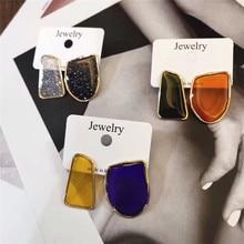 MENGJIQIAO 2019 nueva asimetría geométrica colorida gota glaseado pendientes para mujer moda delicada Boucle D'oreille lindos regalos