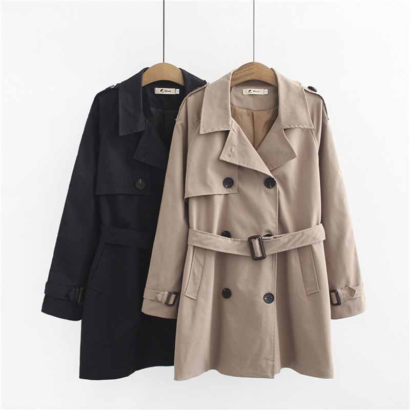 2019 Spring Autumn Large size   Trench   Coat Women Belt Slim Cotton Windbreaker Female Loose Double-breasted   Trench   4XL Fashion G16