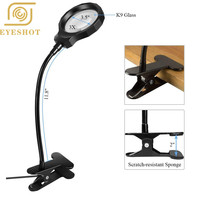 Magnifying Glass Light Illuminated Magnifier 3X LED Magnified Glass USB Powered Magnifier with Clip for Reading, Crafting
