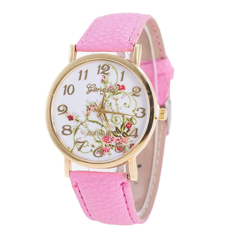 Geneva Idyllic Flower Pattern Watch Women's Watches Bayan Kol Saaty Fashion Romain Horloge Cadeau Reloj De Mujer Clock Cuckoo@50