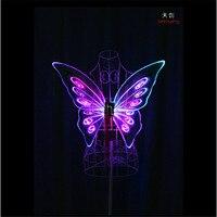 Tc 171c ребенка модели программируемые светодиодные крылья бабочки Belly Dance LED костюмы платья шоу на сцене носит полный цвет RGB LED
