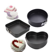 3Pcs Heart Square Round Baking Dishes Pans Steel Nonstick Removable Bottom Bakeware Springform Pan Cake Pans Gift
