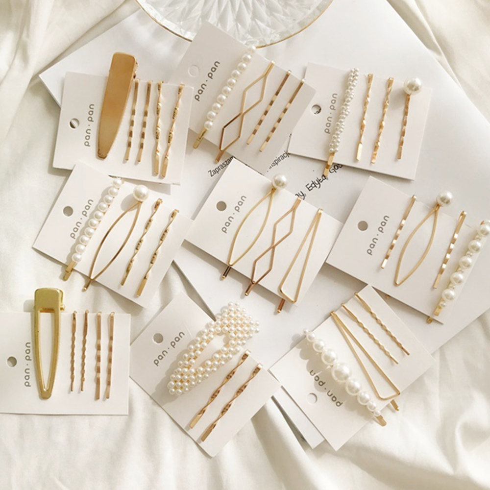 4PCS/Set Women Fashion Pearl Hair Clip Comb Bobby Pin Barrette Hairpins Hair Clips Hairgrip Styling Tools Accessories