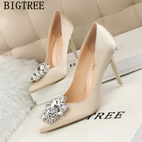 new arrival 2019 dress shoes women rhinestone heels bigtree shoes pink heels women pumps wedding shoes bride tacones mujer buty
