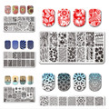 5Pcs/set BORN PRETTY Rectangle Nail Art Stamping Template 12*6cm Manicure Nail Image Plate L046-050