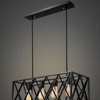 Retro Black iron lamp living room chandelier wholesale creative personalized American style iron lamp 4/6 Head Rectangular lamps