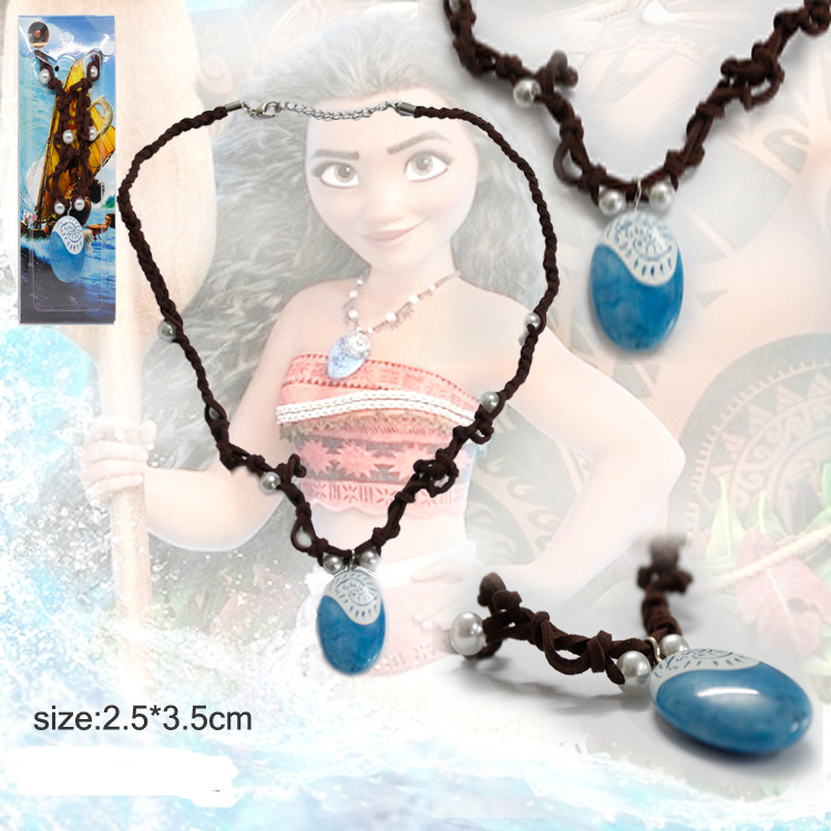 1PC Moana Ocean Rope Chain Necklaces Blue Stone Necklaces & Pendants Leather Suede Choker Necklace for women Girls jewelry