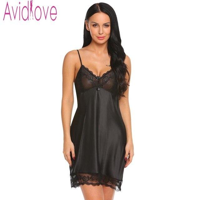 Avidlove Sexy Sleepwear Women Backless Satin Chemise Slip Nightwear Lace  Nightgown Female Home Night Gown Baby 034a923e0