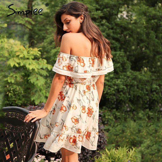 Simplee Summer boho print ruffle short dress Women off shoulder hollow out pleated dress Sexy beach floral mini dress vestidos