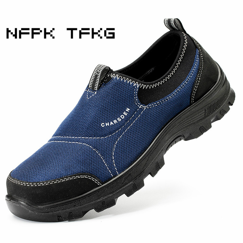 plus size men fashion slip on steel toe cover work safety shoes platform anti-pierce tooling security boots protective footwear big size for men boot safety protective shoes cover man rubber safety shoes cover non slip anti smashing steel toe work shoes