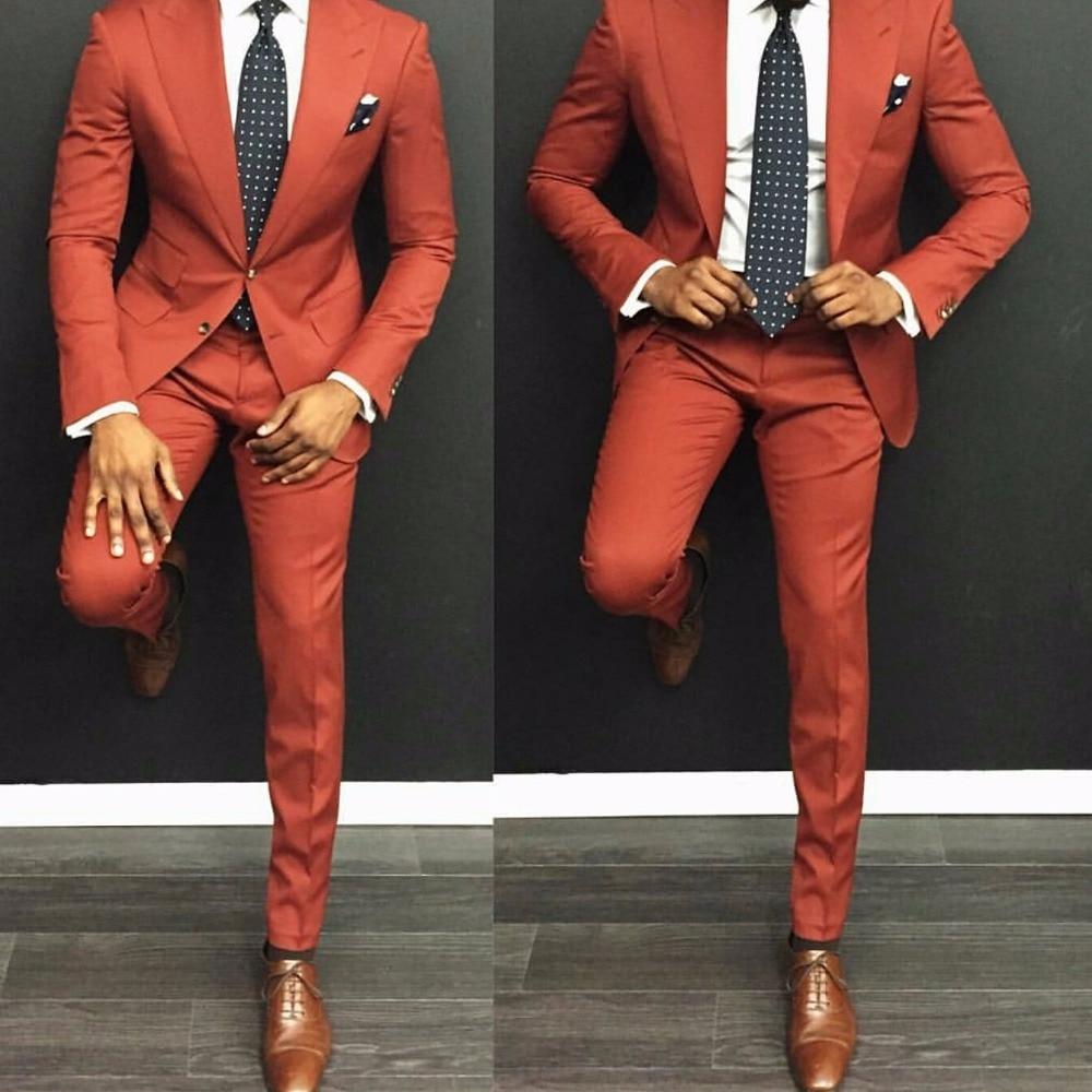 Latest Coat Pant Designs Orange Men Suit Casual Slim Fit 2 Piece ...