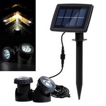 Solar Powered LED Spot Light Outdoor Waterproof Landscape Lighting Spotlight Security Lamp for Garden Pool Pond Lawn Pathway